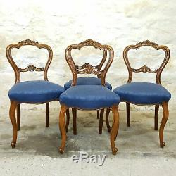 Victorian Carved Walnut Balloon Back Set of 4 Upholstered Dining Chairs C1880