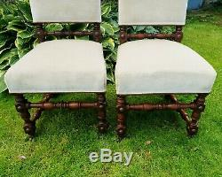 Victorian Period Pair of Oak Jacobean Style Upholstered Dining Chairs C19th