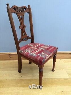 Vintage Art Nouveau Dinning Chairs X 4 Carved Wood Upholstered Old Antique
