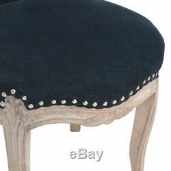 Vintage Black Velvet Upholstered Occasional Armchair Cabriole Legs
