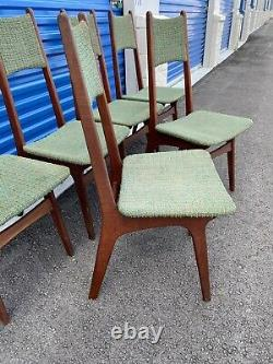 Vintage Mid Century Modern High Dining Chairs, Set of 6 Upholstered Green 1968