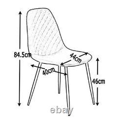 Vintage Set of 4 Velvet Dining Chairs Side Chair Metal Legs Padded Living Room