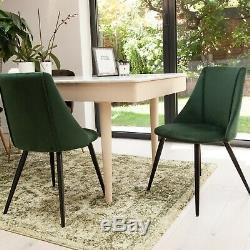 Vintage Velvet Upholstered Dining Chair Office Chair Black Metal Legs, Grey/Green