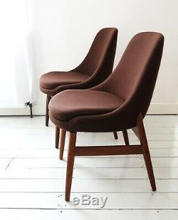 Vintage pair upholstered tub dining office chairs 100% wool