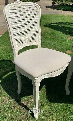 Vintage style Laura Ashley dining table and upholstered, rattan-chairs (6 or 8)