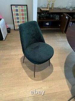 West Elm Finley Upholstered Dining Chair Forest Green Velvet (Set of 4)
