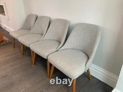 West Elm Mid-Century Upholstered Dining Chair, Platinum Linen Weave