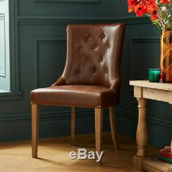 Westbury Tan Faux Leather Buttoned Upholstered Scoop Dining Chairs In 2 Packs