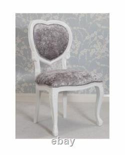 White Mahogany Heart Chair Silver Crushed Velvet