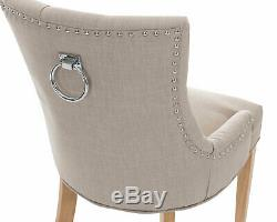 X2 Grey Linen Scoop Back Dining Chairs Upholstered Studded Button Back Furniture