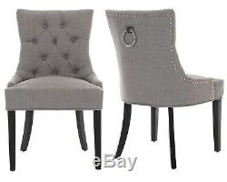 X2 Verona Scoop Back Grey Velvet Dining Chairs Button Back Upholstered Furniture