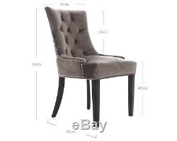 X2 Verona Scoop Button Back Grey Velvet Dining Chairs Upholstered Chair