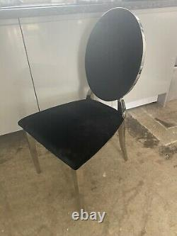 X6 Round Back Dining Chairs Black Velvet Seat Kitchen Office Upholstered Chrome
