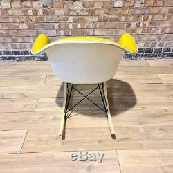 Yellow Herman Miller Original Eames Upholstered RAR Rocking Arm Shell Chair